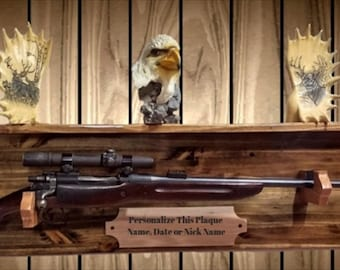 Personalized Gun Rack, Traditional Wood Wall Display with Shelf, (Your Name Here). Rifle Shotgun Muzzle Loader, FREE SHIPPING