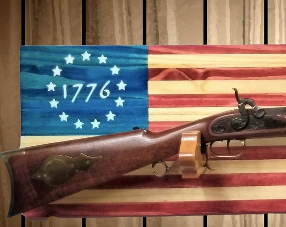 Patriotic 1776 American Flag Gun Rack, Knotty Pine Wall Mount, Rifle Shotgun, Handmade Americana, Cabin, Hunting Decor, Gift, FREE SHIPPING