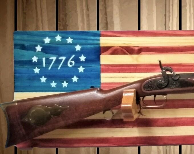 Patriotic 1776 American Flag Gun Rack, Knotty Pine Wall Mount, Rifle Shotgun, Handmade Americana, Cabin, Hunting Decor, Gift, FREE SHIPPING