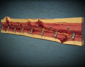 Rustic Cedar Live Edge Coat Rack, 8 Hooks, Entryway, Wall Mount, Home Cabin Decor, Gift, FREE SHIPPING