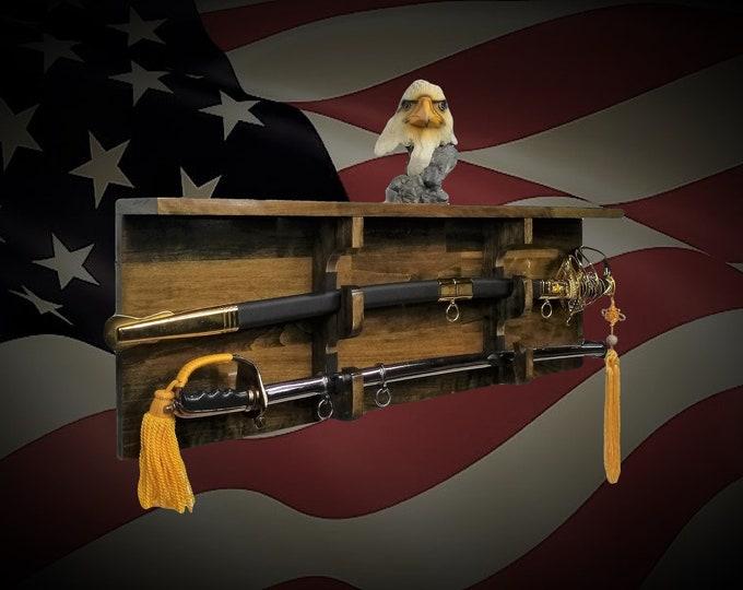 2 Tier Sword Display Rack Shelf Vintage Gold  Finish Military Saber Katana Samurai Décor Gift, FREE SHIPPING!