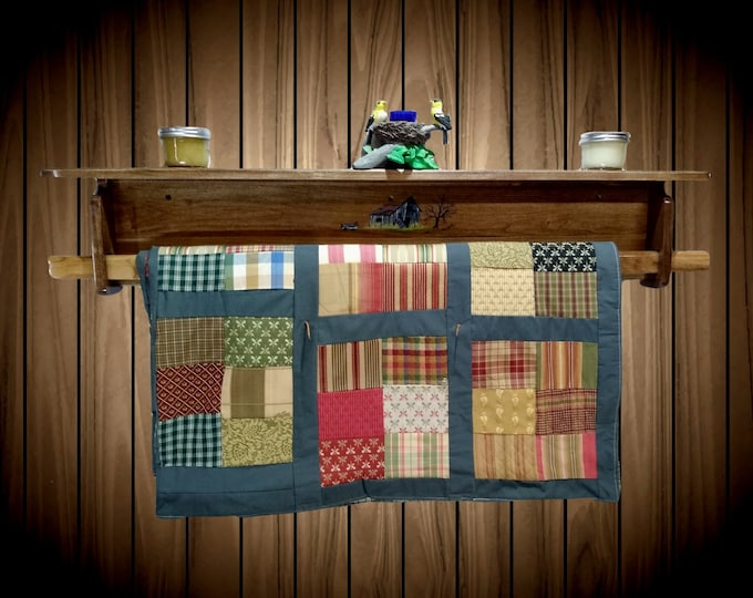 Rustic Barn Handmade Painted Wood Quilt Rack / Shelf Wall Mount Home Cabin Chic Decor Gift