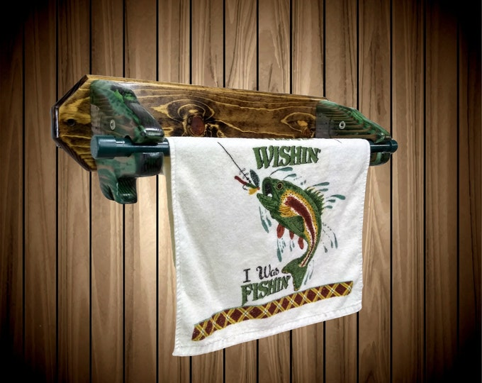 "Rustic Fish 24"" Towel Holder Hand Painted Fishing Bathroom Cabin Decor Unique Gift"