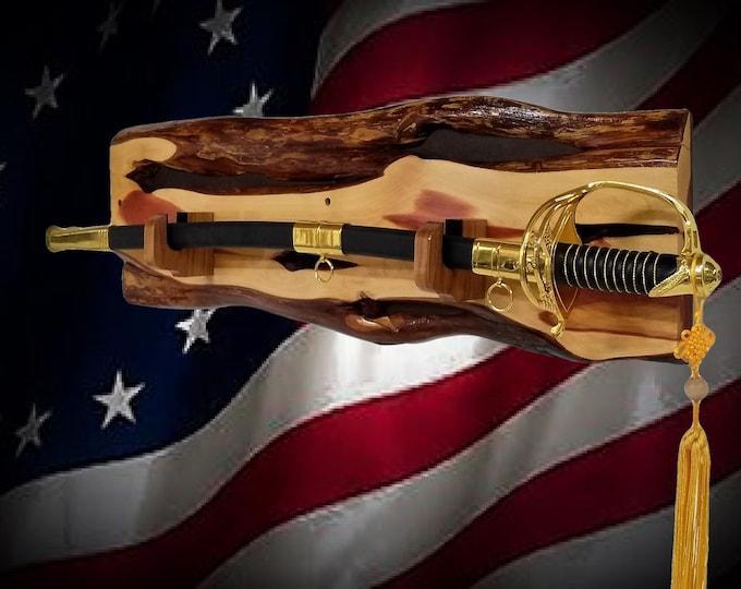 Rustic Sword Display Live Edge Cedar Military Saber Katana Dagger Handcrafted Gift, FREE SHIPPING