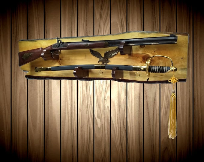 Rustic Gun Rack and Sword  Display, Live Edge Knotty Pine Wall Mount, Iron Eagle, Cabin Lodge Vintage Military Decor, Gift, FREE SHIPPING
