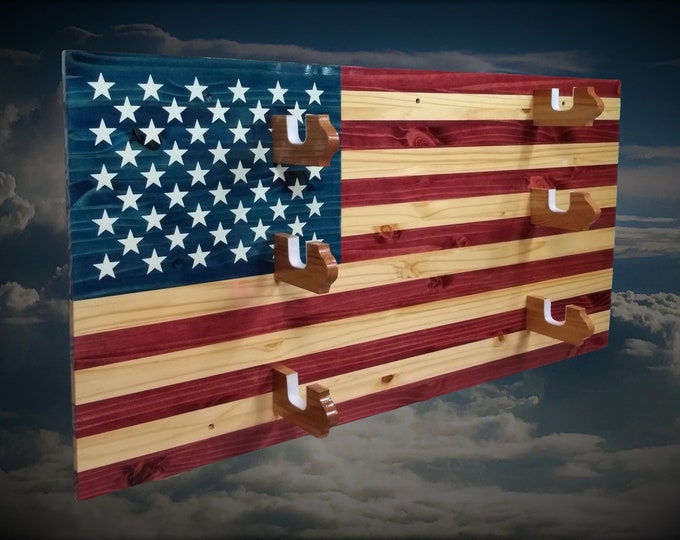 Rustic American Flag Gun Rack 3 Place Knotty Pine, Rifle Shotgun Americana Decor Great Gift, FREE SHIPPING
