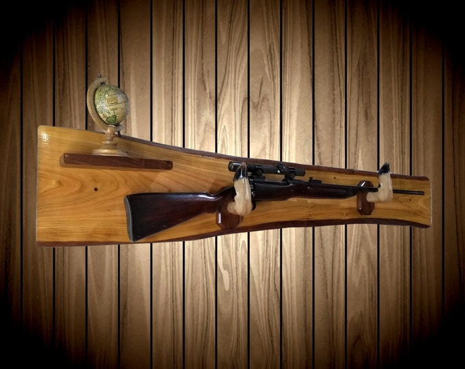 Rustic Gun Rack Live Edge Red Maple Small Shelf Deer Hoof Hangers Wall Mount Rifle Shotgun Home Cabin Man Cave Decor Handmade Gift