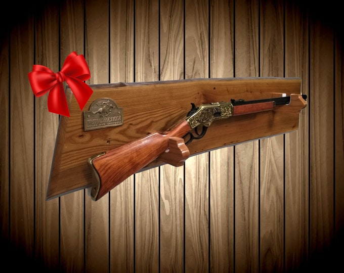 Live Edge Butternut Gun Rack, Oak Hangers, Winchester Lever Action Rifle Display, Western Cabin Hunting Decor, Gift, FREE SHIPPING