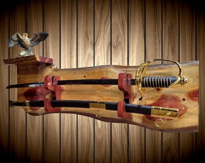 Rustic Sword Display Rack and Shelf Wood Wall Mount Custom Blade Sheath Hangers Military Katana Handcrafted Gift