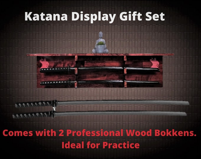 Sword Display Rack Wall Shelf Wood Ninja Katana Practice Swords Complete Gift Set, FREE SHIPPING!