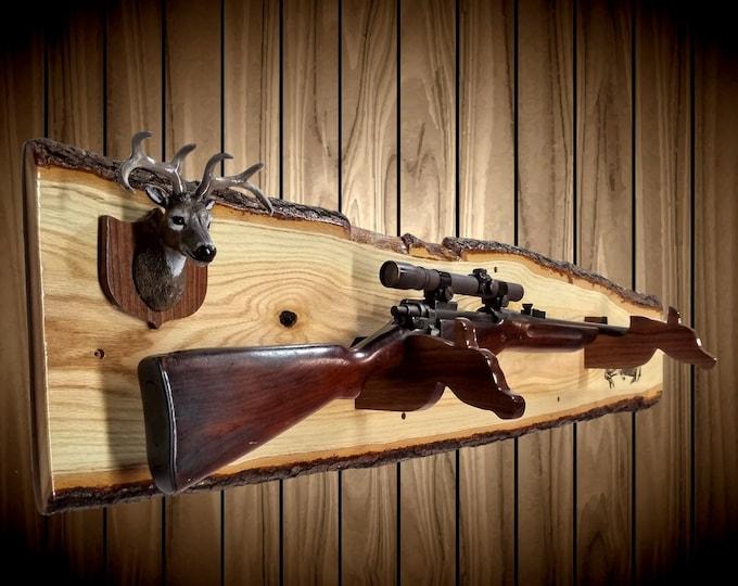 Live Edge Oak Gun Rack Mini Buck Mount Walnut Hangers Shotgun Rifle Cabin Rustic Wall Decor Gift