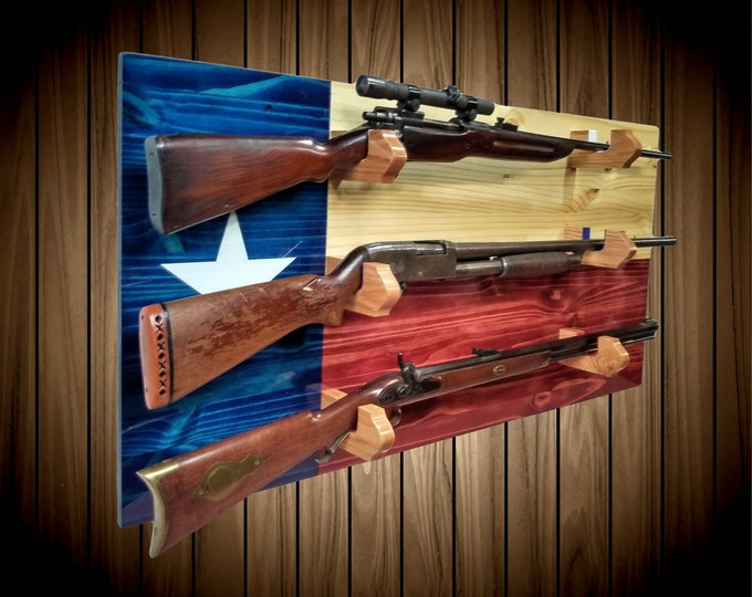 Texas Flag Gun Rack, 3 Gun Display, Knotty Pine Wood, Wall Mount, Rifle Shotgun Muzzle Loader, Handcrafted, Man Cave, Americana Decor, Gift