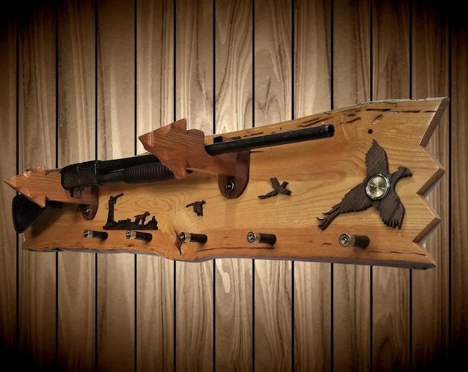 Rustic Gun Rack, Live Edge Ash, Pheasants, Arrowhead Holders, Shotgun Shell Pegs, Clock, Home Cabin Decor, Handcrafted Gift, FREE SHIPPING