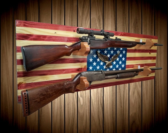 American Flag Gun Rack with Iron Eagle, Knotty Pine, 2 Place Rifle Shotgun, Handmade Americana Cabin Man Cave Decor Fathers Day Gift