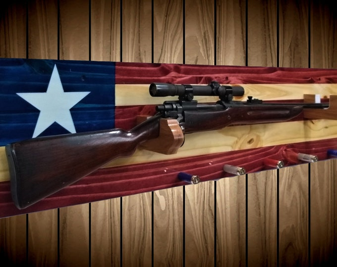 Texas Gun Rack Knotty Pine Wall Mount Rifle Shot Gun Shell Pegs Americana Cabin Man Cave Flag Decor Hunting Gift