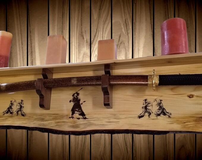 Bushido Sword Rack with Shelf Samurai Katana Bokken Wall Display Rustic Knotty Pine Handcrafted Gift