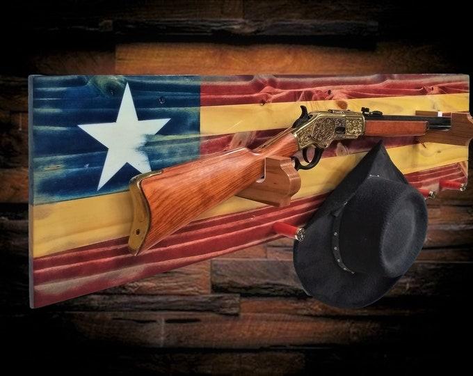 Texas Gun Rack Knotty Pine Wall Display Rifle Shotgun Rustic Flag Decor Gift, FREE SHIPPING