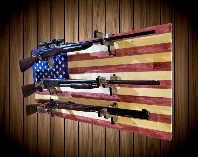 American Flag Patriotic 3 Gun Rack Pistol Hangers Aspen Wood Wall Mount Rifle Shotgun Muzzle Loader Handcrafted Gift
