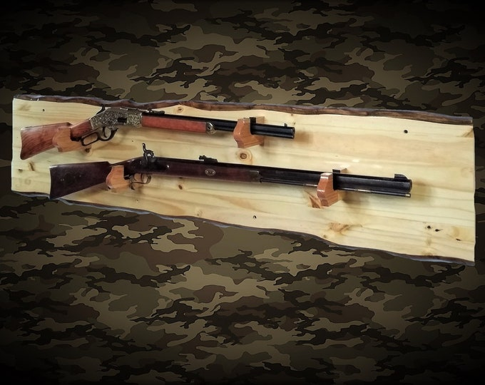 Rustic 2 Place Gun Rack Knotty Pine Wall Display Rifle Shotgun Hunting Decor Gift, FREE SHIPPING