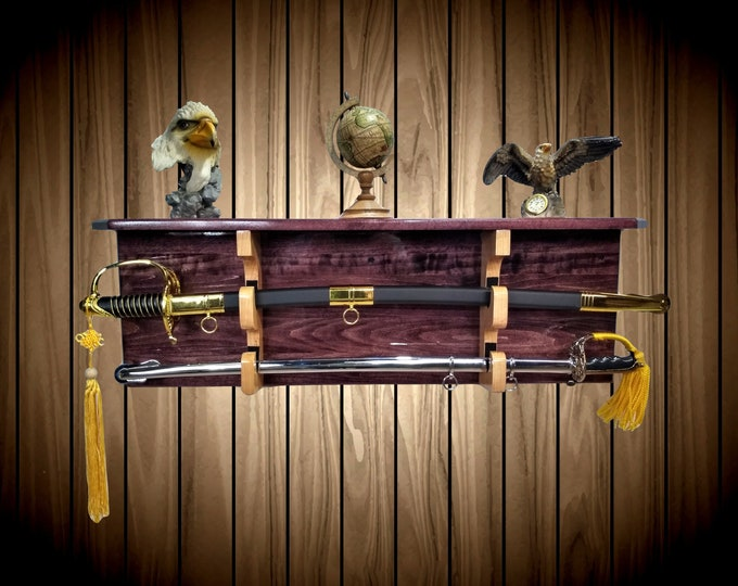 Sword Display Rack w/Shelf, Wood Wall Mount, Black Cherry Finish, Natural Cherry Hangers, Military Saber, Katana Samurai Decor
