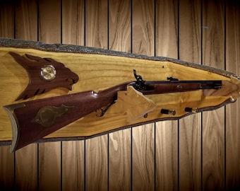 Rustic Gun Rack, Wall Mount, Live Edge, Clock, Arrowhead Holders, Shotgun Shell Pegs, Vintage Gun Display Gift, FREE SHIPPING