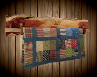 Unique Rustic Hanging Wood Quilt Rack Wall Mount Live Edge Knotty Red Cedar Home Cabin Decor Gift, FREE SHIPPING!