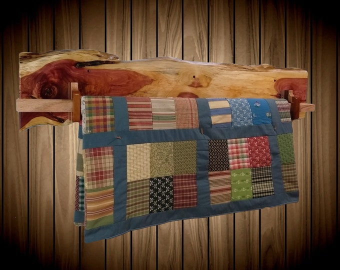 Unique Rustic Hanging Wood Quilt Rack Wall Mount Live Edge Knotty Red Cedar Home Cabin Decor Gift