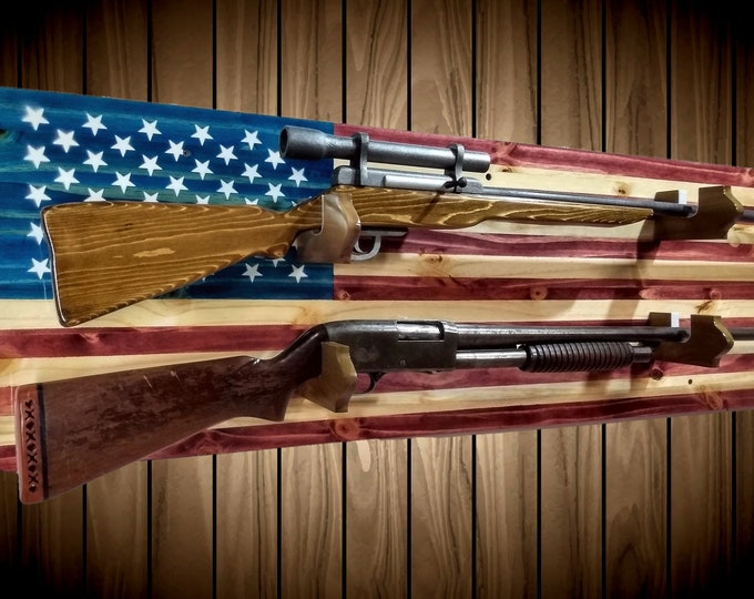2 Place Flag Gun Rack Knotty Pine Rifle Shotgun Handmade Americana Cabin Man Cave Decor Gift