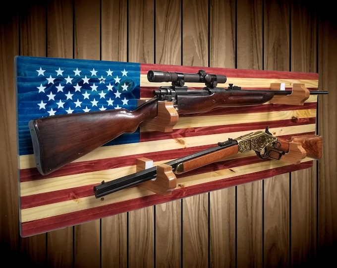 American Flag Gun Rack Knotty Pine, 2 Place Rifle Shotgun Sword, Handmade Americana Cabin Man Cave Decor Gift