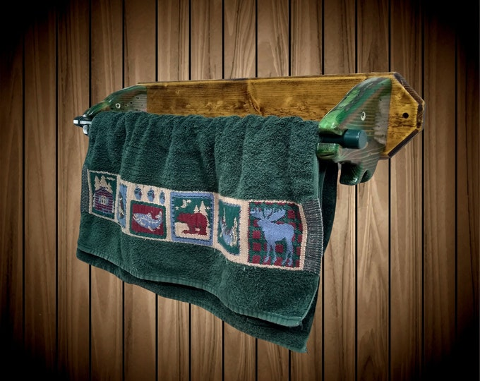 "Rustic Fish 30"" Towel Holder, Hand Painted Fishing Bathroom, Cabin Decor, Unique Gift.  FREE SHIPPING"