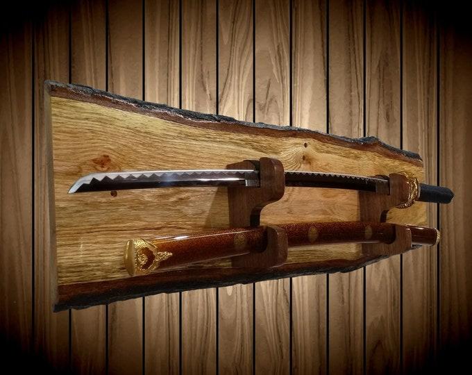 Rustic Sword Rack Display, Live Edge Oak, Wall Mount, Military, Samurai Katana, Saber,  Walnut Blade and Sheath Hangers, Handcrafted Gift
