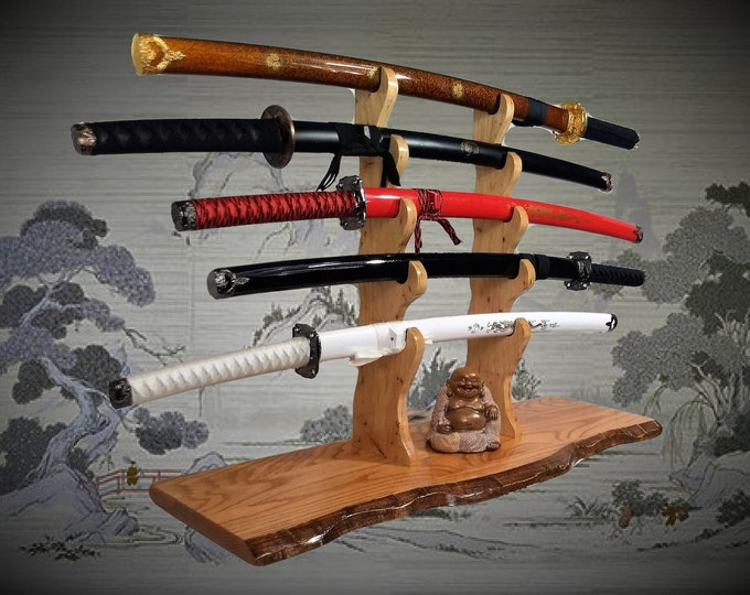 Solid Rustic Oak Katana Sword Stand, Hickory Holders, Mantel Desk Top Japanese Samurai Decor, Gift, Free Shipping
