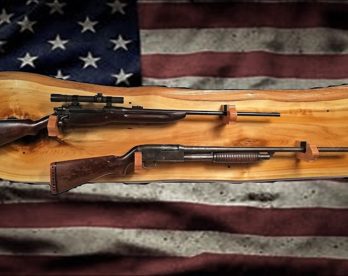 Rustic Gold 2 Place Gun Rack Knotty Cedar Wall Display Rifle Shotgun Hunting Decor Gift, FREE SHIPPING
