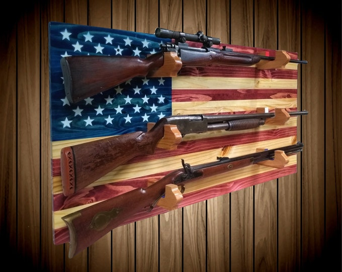 American Flag Gun Rack 3 Place Knotty Pine Wood Wall Mount Rifle Shotgun Muzzle Loader Handcrafted Man Cave Americana Decor Gift