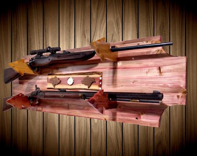 Wood 2 Gun Rack Cedar Arrowhead Holders Wall Mount Rifle Shotgun Muzzle Loader Display Handcrafted Gift Home Cabin Decor