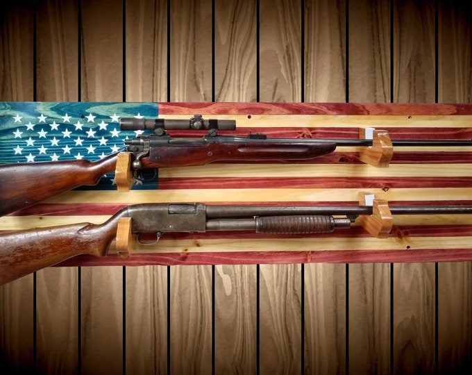 2 Place American Flag Gun Rack Knotty Pine Rifle Shotgun Handmade Americana Cabin Man Cave Decor Gift