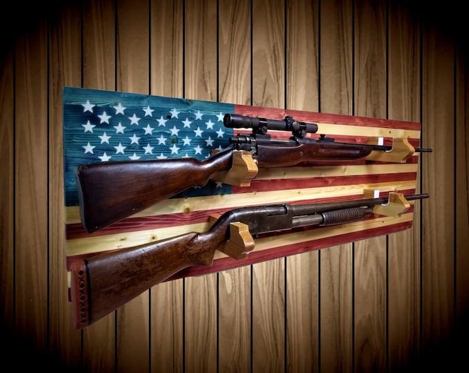 2 Place American Flag Gun Rack Knotty Pine Rifle Shotgun Handmade Americana Cabin Man Cave Decor Gift