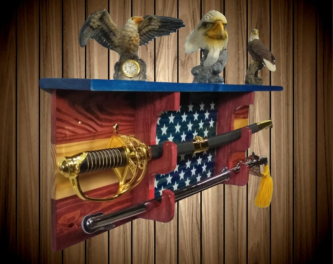 Stars and Stripes Sword Display Rack w/Shelf, Knotty Pine, Wall Mount, Americana, Military Saber, Katana Samurai Decor, Gift, Free Shipping