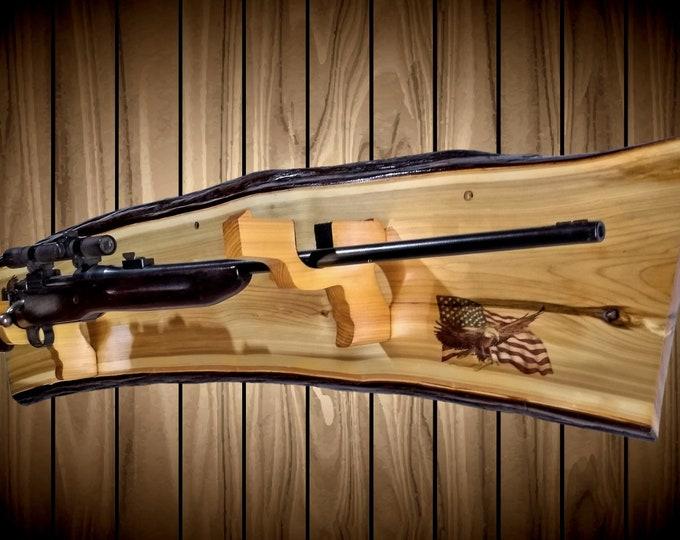 Rustic Cedar Gun Rack Pistol Hangers American Flag Cabin Decor Rifle Shotgun Muzzle Loader Americana Hunting Home Cabin Decor
