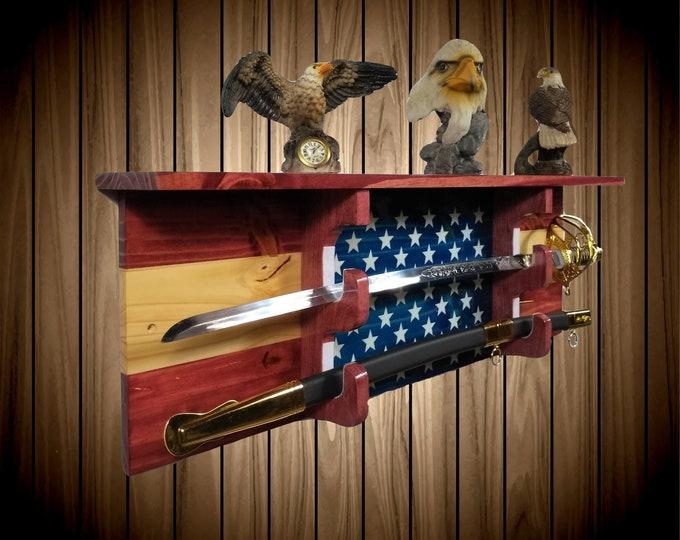 Stars and Stripes Sword Display Rack w/Shelf, Knotty Pine, Wall Mount, Americana, Military Saber, Katana Samurai Decor, Gift, Free Shipping