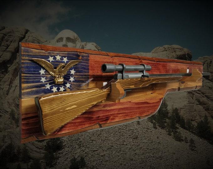 Rustic Patriotic Gun Rack Wall Display 13 Star Gold Eagle Rifle Shotgun Flag Décor, Gift FREE SHIPPING
