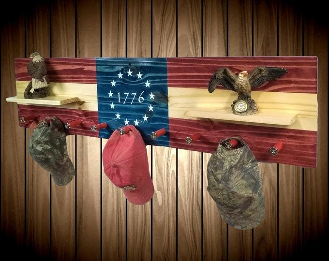 Featured listing image: Flag Coat Rack Shelf Wall Hanging 9 Shotgun Shell Pegs 1776  Americana Flag Decor, Gift, FREE SHIPPING