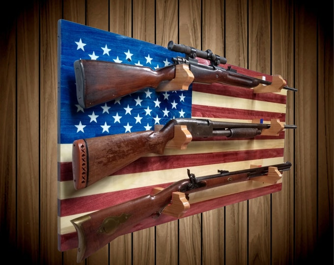 American Flag Gun Rack, 3 Place Aspen Wall Mount, Rifle Shotgun Muzzle Loader, Handcrafted Man Cave Americana Decor, FREE SHIPPING