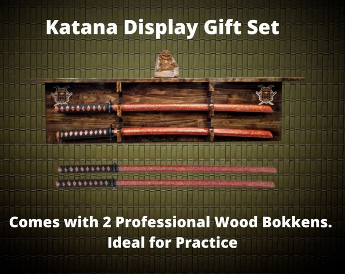 Sword Display Rack Wall Shelf Wood Samurai Katana Practice Bokkens Complete Gift Set, FREE SHIPPING!