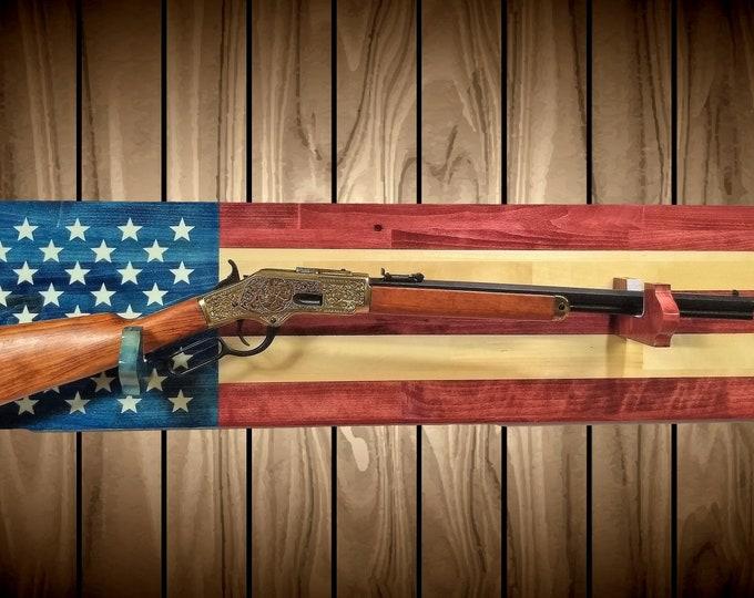 Americana Flag Gun Rack Wall Display Rifle Shotgun USA Hunting Decor Gift, FREE SHIPPING