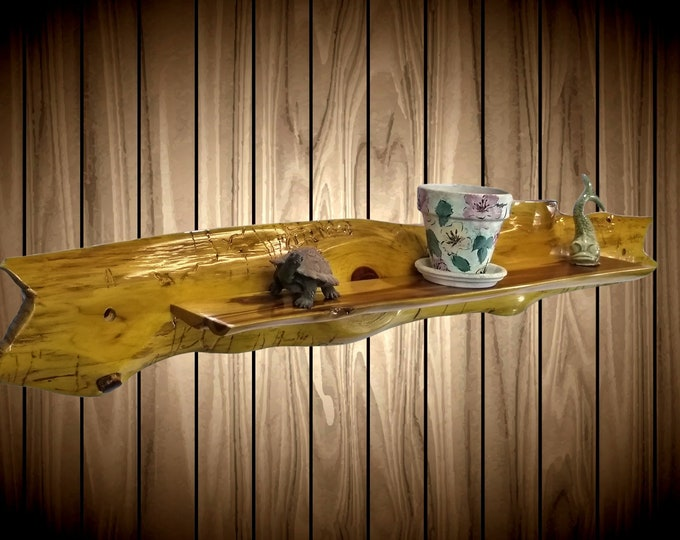 Unique Cedar Shelf With All Live Edges, Natural Weathering, Worming, Handcrafted Home Cabin Rustic Wall Decor