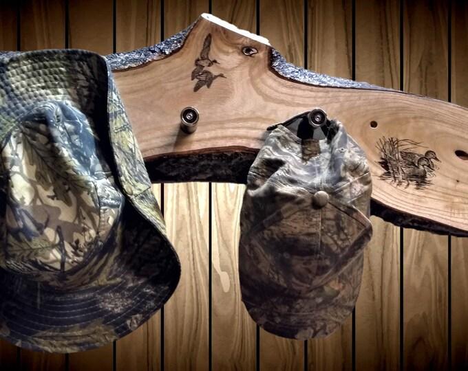 Rustic Coat Rack, Duck Decor, 8 Shotgun Shell Pegs, Live Edge, Home, Entryway, Cabin Decor, Gift, FREE SHIPPING