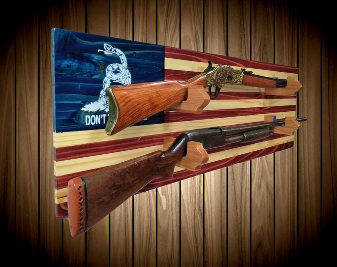 Don't Tread On Me 2 Place Flag Gun Rack Knotty Pine Rifle Shotgun Handmade Americana Cabin Man Cave Decor Gift