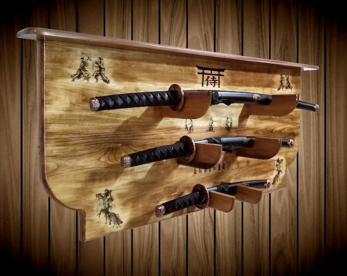 3 Tier Katana Wakizashi Tanto Samurai Sword Display Rack w/ Shelf Bushido Martial Arts Handcrafted Gift Japanese Decor
