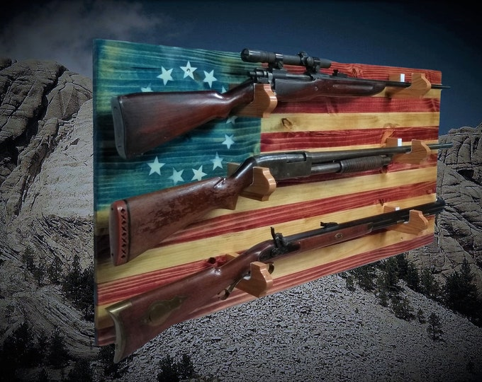 Rustic 13 Star Patriotic Flag Gun Rack 3 Place Knotty Pine, Rifle Shotgun Americana Decor Great Gift, FREE SHIPPING